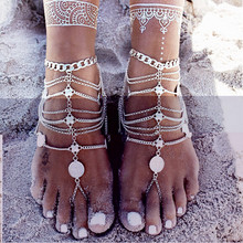 Antique Silver Anklet Fashion Coin Tassel Leg Bracelet For Women To Beach Ankle Chaine Cheille Tobillera Foot Chain Anklets