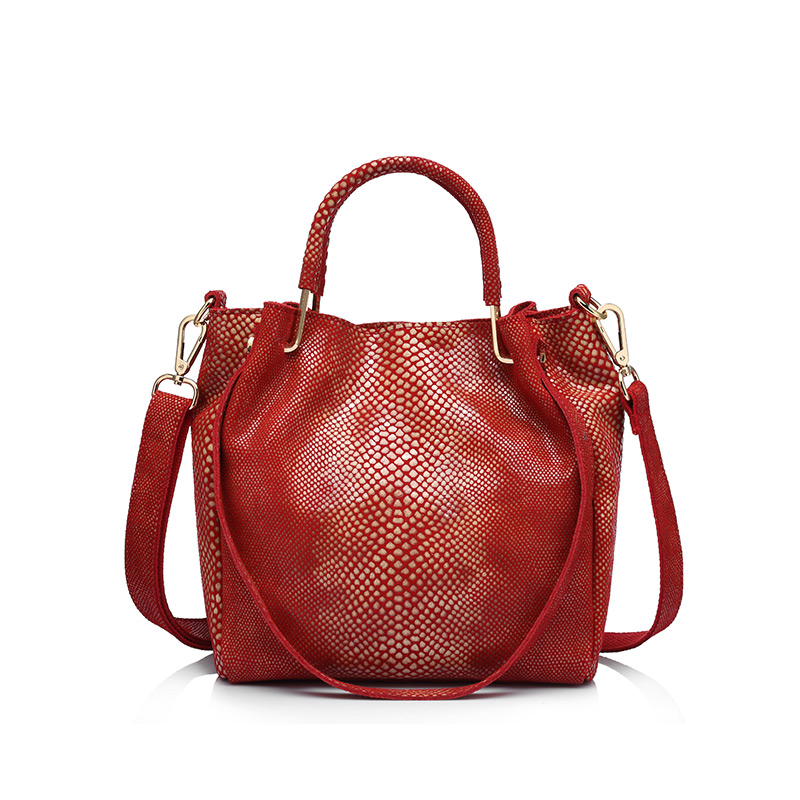 Realer Brand Women Genuine Leather Handbag Casual Shoulder Bag Female Gold Python Pattern Leather Tote Bag Messenger Bags
