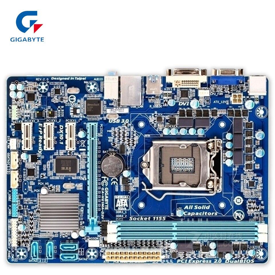 Original Gigabyte GA-H61MA-D3V Desktop Motherboard H61MA-D3V H61 LGA 1155 i3 i5 i7 DDR3 16G SATA3 USB3.0 100% Fully Test выпрямитель волос ga ma 1031 минск