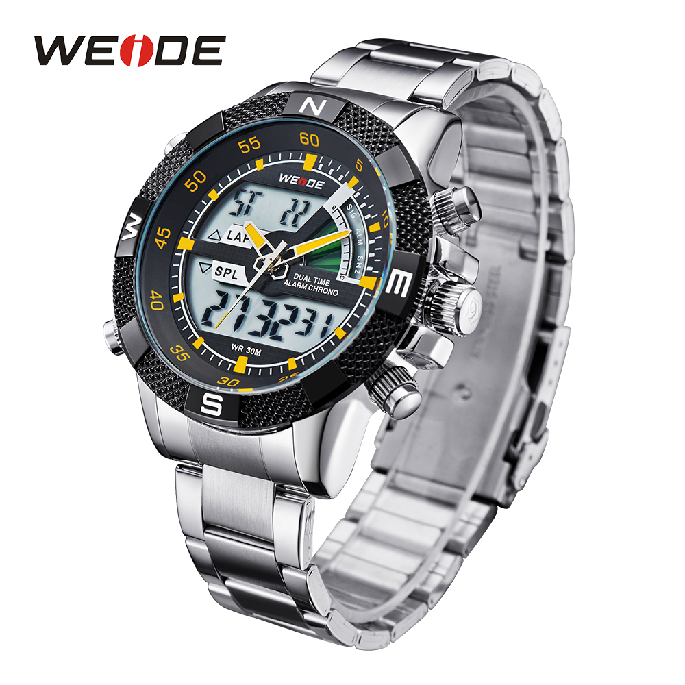 все цены на WEIDE Luxury Sports Analog Digital Backlight Date Stopwatch Watch Military Watch for Men Quartz Relogio Masculino relojes hombre