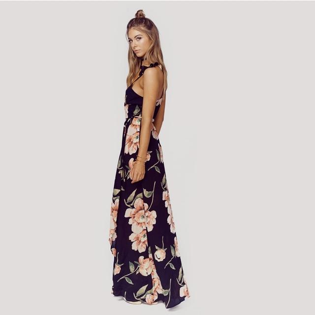 Floral Print Backless Split Maxi Dress