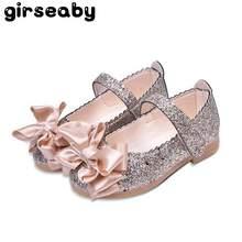 8abb3a3e Girseaby bebé niño niñas oro flor fiesta bailarina pisos chico lentejuelas  Bling Mary Jane vestido de princesa zapatos L026