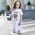 Kids Girls T-shirt Dresses 2016 Summer New Cotton Girls Long T-shirts with Tassels Short Sleeves Girls Jersey Dress White Pink