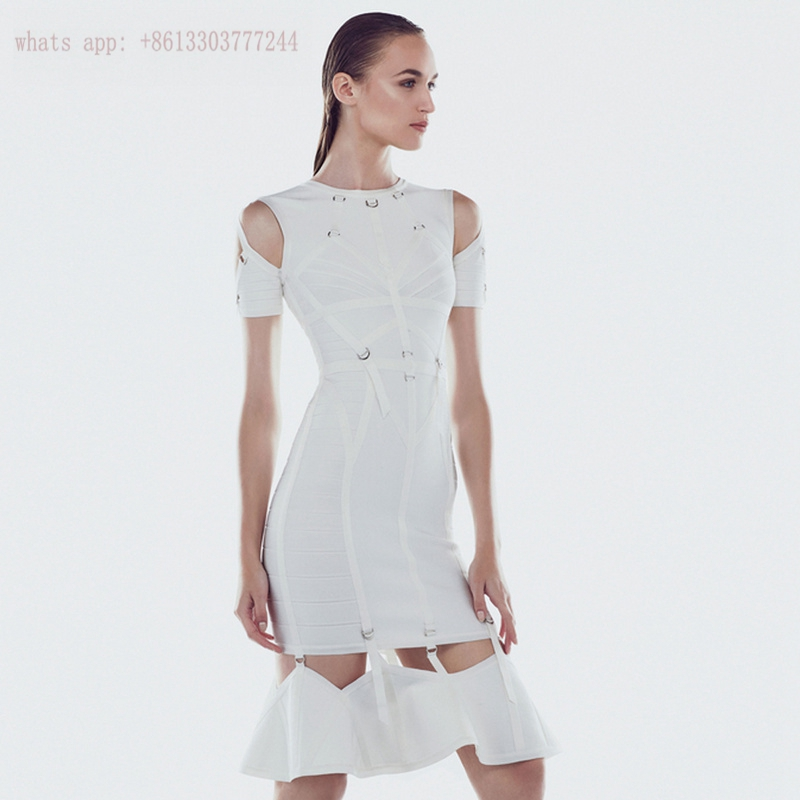 2017 luxcury brand clothin elegant white women vestidos short sleeve mermaid bandage dress sequined short evening party dresses