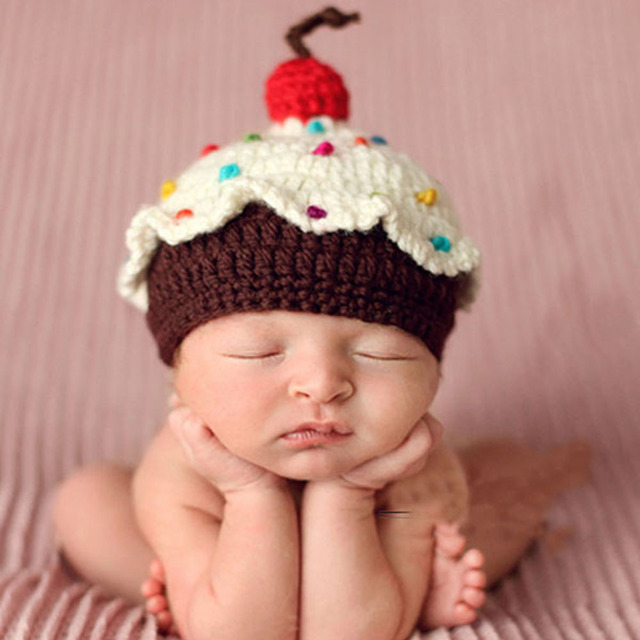 Crochet knit baby hat cake design lovely newborn baby beanies cap handmade photography props retail h101