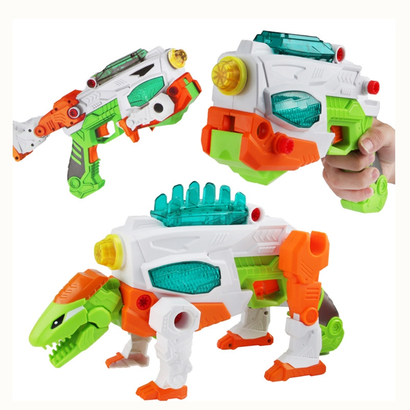 Deformation Dinosaur Toy Child 3 in 1 Dinosaur Toy Gun With Lights and Sound DIY assembly Dinosaurs Toys Jurassic Toys Boy Gift