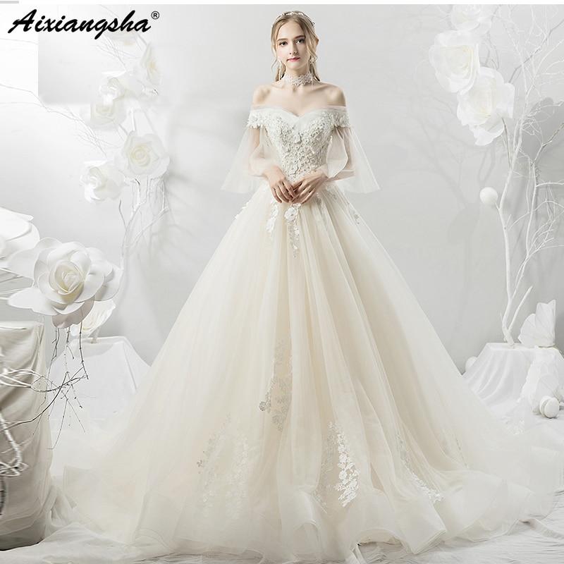 2019 Romantic Alluring White Sheer Straps Lace gelinlik Graceful Plus Size vestido de noiva Tulle Applique Wedding Dresses