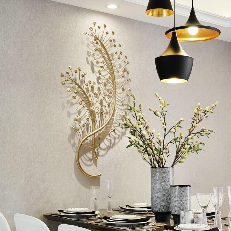 Creatieve Smeedijzeren Muur Opknoping Takken En Bladeren Muurschildering 3D Woonkamer Wanddecoratie Ambachten Home Decoratie R1358 - 3