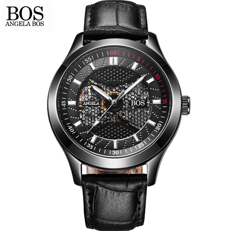 ANGELA BOS Black Mechanical Skeleton Self Wind Automatic Watch Man Waterproof Stainless Steel Leather Watches Men Luxury Brand men s luxury skeleton stainless steel retro automatic mechanical watch hollow engraving self wind relogio masculinos hot