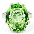 7 #18x15 мм Драгоценный Камень Зеленый Цаворит Гранат SheCrown женщины Обручальное Создания Серебряное Кольцо 20x17 мм
