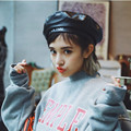 Vintage PU Leather Beret Boinas Hat Bone Cap for  Women Spring and Autumn