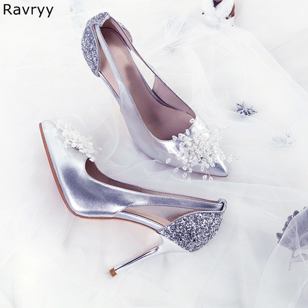 Bling Bling white flower Decor slip-on elegant Silver Woman high heel pointed toe sexy pumps female luxury wedding party shoes