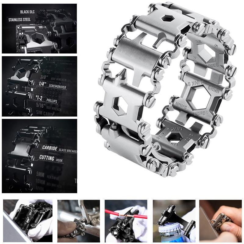 Survival Multi Tools Wearable 29 In 1 Stainless Steel Bracelet Strap Multi-function Screwdriver Outdoor Emergency Kits Multitool (18)