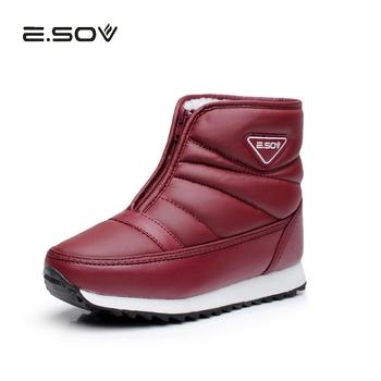 ESOV damskie buty śniegowe wodoodporne PU skórzane grube pluszowe ciepłe buty zimowe buty kobieta buty zimowe gumowe podeszwy Zip buty damskie tanie i dobre opinie Dla osób dorosłych Krótki plusz RUBBER zipper WB0002 Zima Płaskie z Mieszkanie (≤1cm) okrągły nosek Dobrze pasuje do rozmiaru wybierz swój normalny rozmiar
