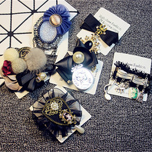 Mix Styles Female Anqique Pendant Chain Lace Pearl Quality Brooch Clothes Pin Antique Tassel Brooches Hat Wholesale