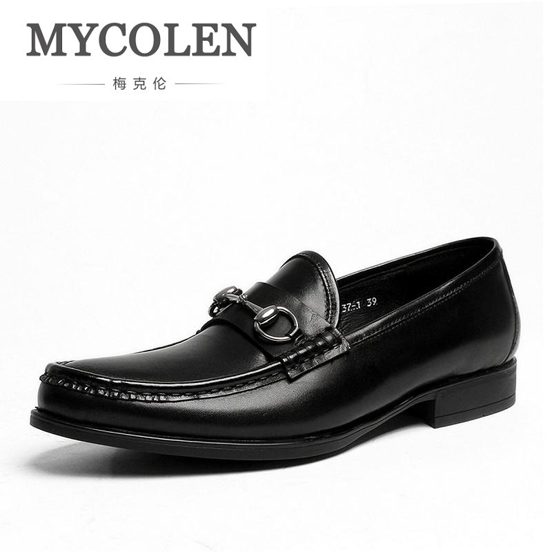MYCOLEN 2018 Spring Autumn Mens Dress Shoes Genuine Leather Blue Black Men Loafer Male Handmade Wedding Shoes Zapato Hombre handmade mens dress shoes italian leather studded flats loafer shoes men casual shoes fashion spiked loafer 35 46