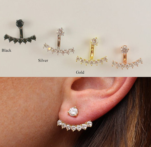Detail Feedback Questions about Free shipping 100% 925 sterling silver  simulated stones ear jacket ear cuff earring for women european jewelry on  ... be87164499f3