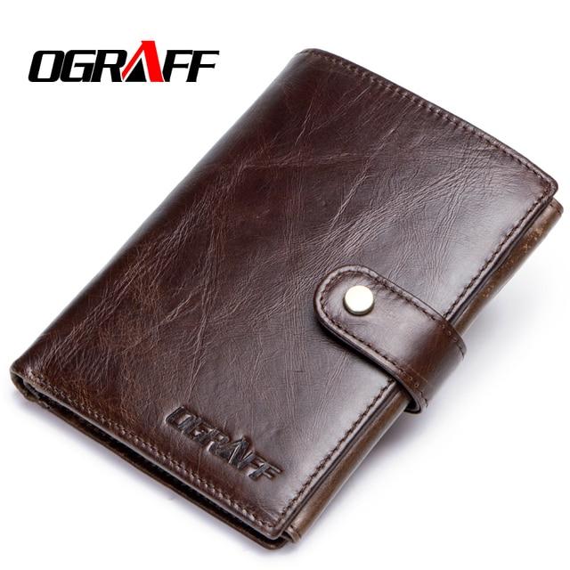 OGRAFF Short Passport Cover Men Wallets Leather Genuine Credit Card Holder Coin Purse Money Bag Small Wallet Passport Case Wale