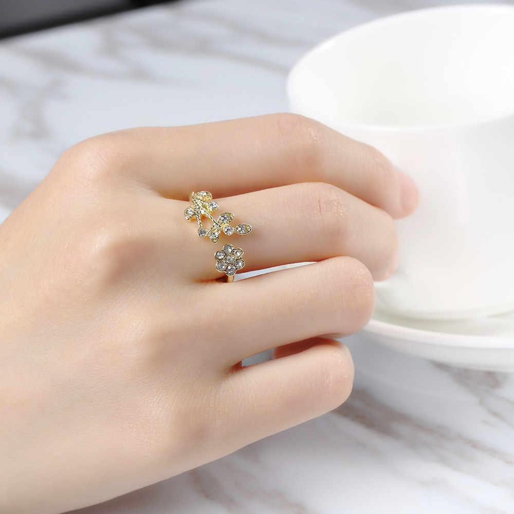 คริสตัลเงินทองแหวนออกแบบดอกไม้ Cubic Zircon เปิดแหวนแฟชั่น Bijoux สำหรับสุภาพสตรีเครื่องประดับ