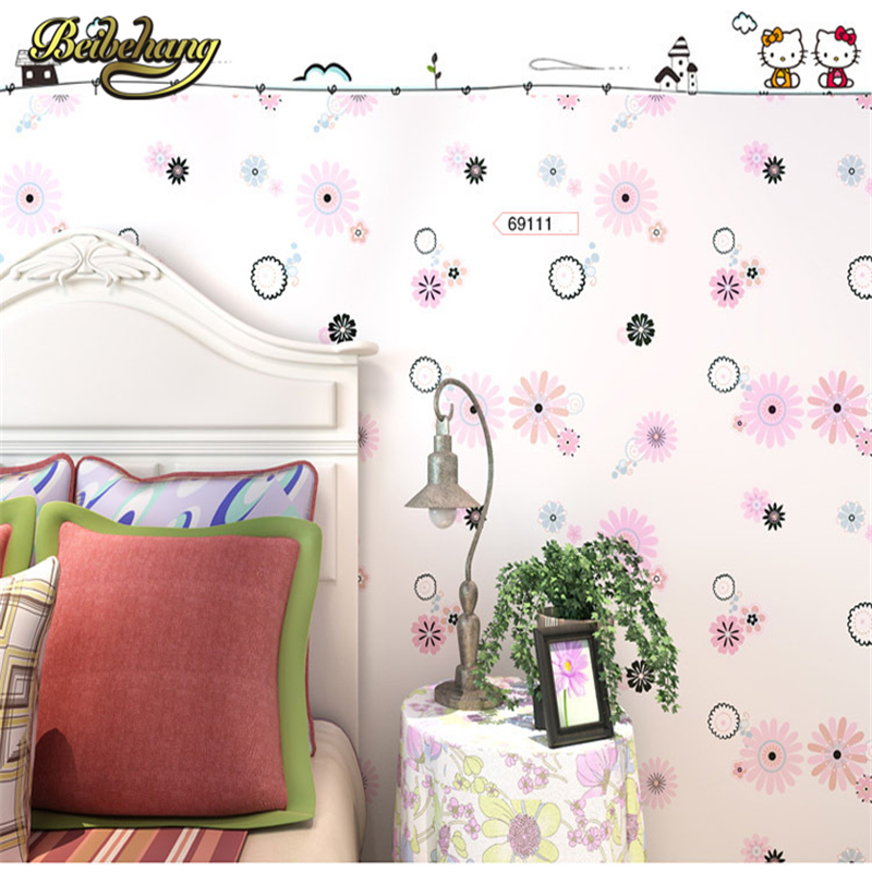 beibehang papel parede Flowers Print Kids Room Decor Wallpaper Lovely Floral Wallpapers Boys Girls Bedroom Decorative Mural Wall beibehang modern luxury circle design wallpaper 3d stereoscopic mural wallpapers non woven home decor wallpapers flocking wa