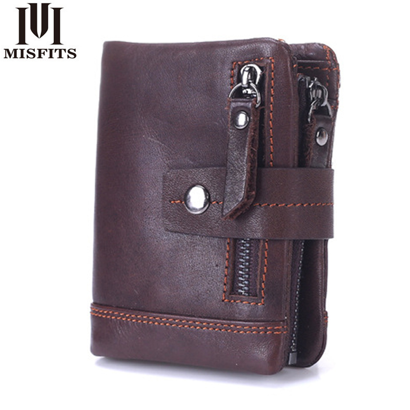 MISFITSS Genuine Leather Mens Wallet Man Cowhide Leather Coin Purse Small Brand Male Credit&id Multifunctional Walets