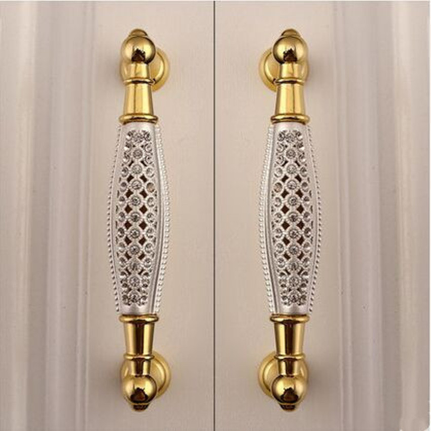 5 deluxe 24K gold furniture decoration handle rhinestone wine cabinet wardrobe door pull 128mm k9 crystal