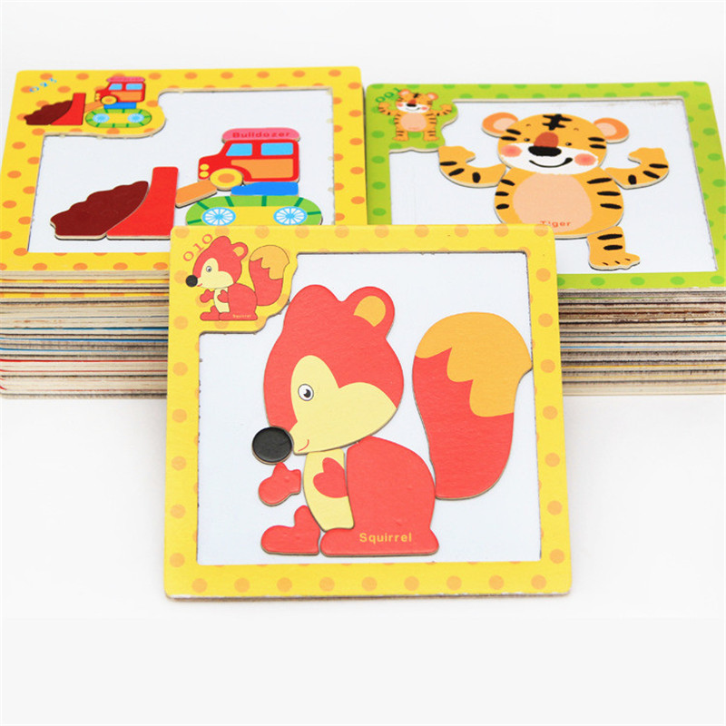 24Styles 3D Magnetic Puzzle Jigsaw Wooden Toys 15*15CM Cartoon Animals Traffic Puzzles Tangram Kids Educational Toy For Children