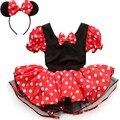 2017 Caçoa o Presente Do Partido Minnie Mouse Fantasia Traje Cosplay Meninas Ballet Tutu Dress + Ear Headband Meninas Polka Dot Vestido roupas Arco