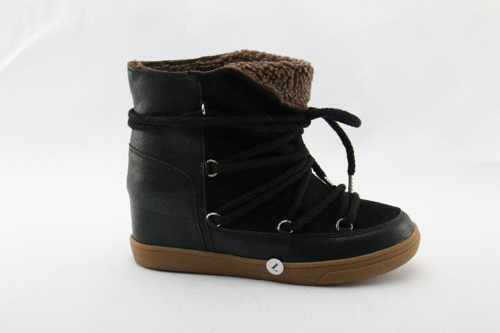 Libre Picture Cuero Botas Botines Caliente Casual Altura Picture Aumentar Zapatos Piel Cuña as Mujer As Al Lace Nieve Up Aire Negro Invierno Marrón WBwxqaY8tq