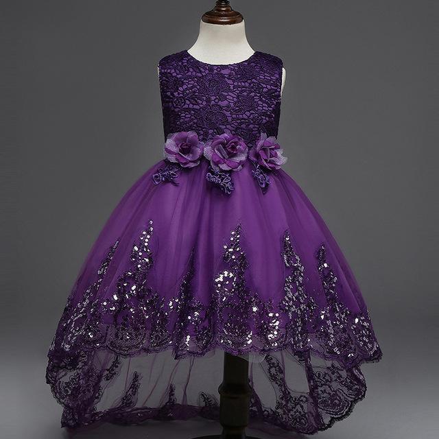 Crianças Meninas Vestem Vestido Novo 2017 Moda Verão Arco Floral Crianças Festa De Casamento Vestidos de Lantejoulas Princesa Vestido de Marca Roupa Dos Miúdos