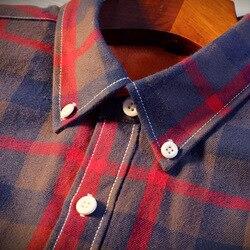 2018 Shirt Men Plaid Flannel Shirts Mens Casual Autumn Winter Spring Thick Warm Fleece Cotton Long Sleeve Shirt Camisa Masculina 5