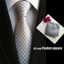 QXY mens fashion tie set pocket square men neckties silver grids stripes business polyester silk woven tie handkerchief T047