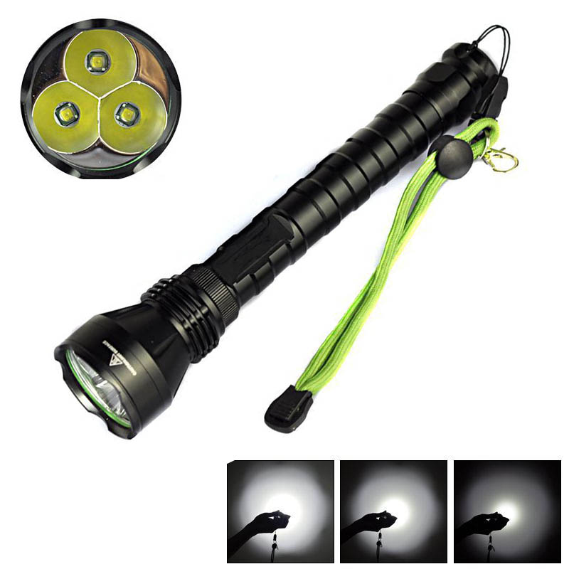 Metal 3X XML T6 Waterproof Flashlight 4000 Lumens 3x XML T6 LED Torch 5 Mode Lantern Hunting Light Powerful for 2x18650 Battery a101 1600lm xml t6 5 mode ultra bright powerful flashlight led flashlight zoomable lantern 2x18650 batteries and changer