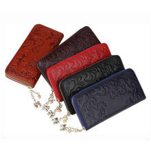 WEIWEI Brand Fashion Genuine Leather Wallet Women's Purse Clutch Bags Long Embossing Women Wallet Money Clips Female Purse QB20