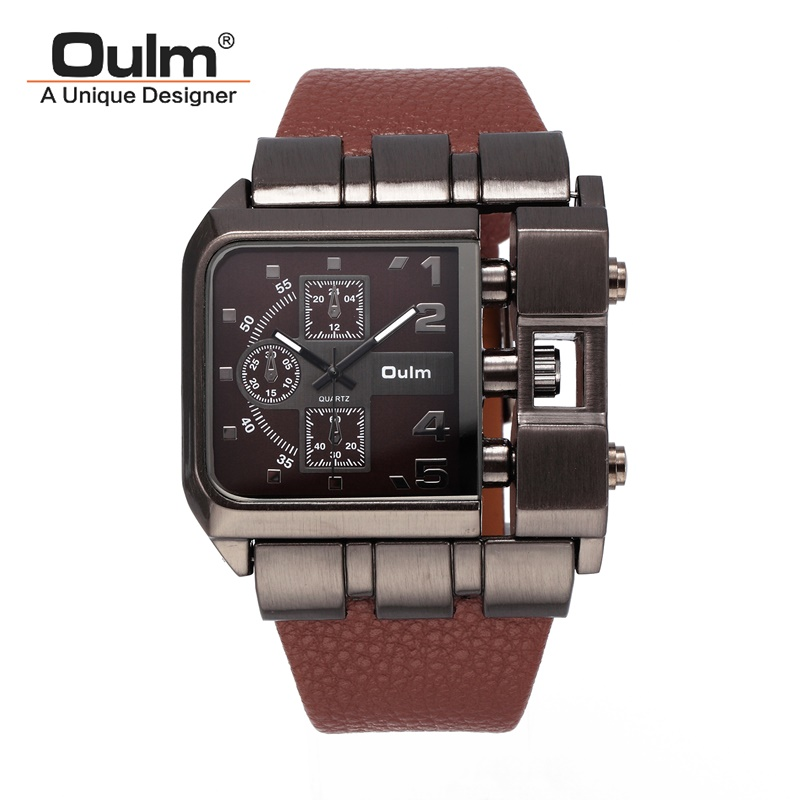 TEAROKE Square Dial Men Quartz Watch Oulm Wristwatch Top Brand Luxury Original Design Leather Strap Male Clock Military Antique oulm men s casual military quartz wristwatch leather strap oversize dual time zone sub dial luxury dz watches design gift box