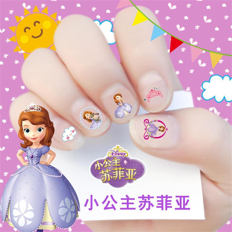 Genuine Disney Frozen 3D Cartoon Nail Sticker Sophia White Snow Princess Child Girl Baby Nail Sticker Toy