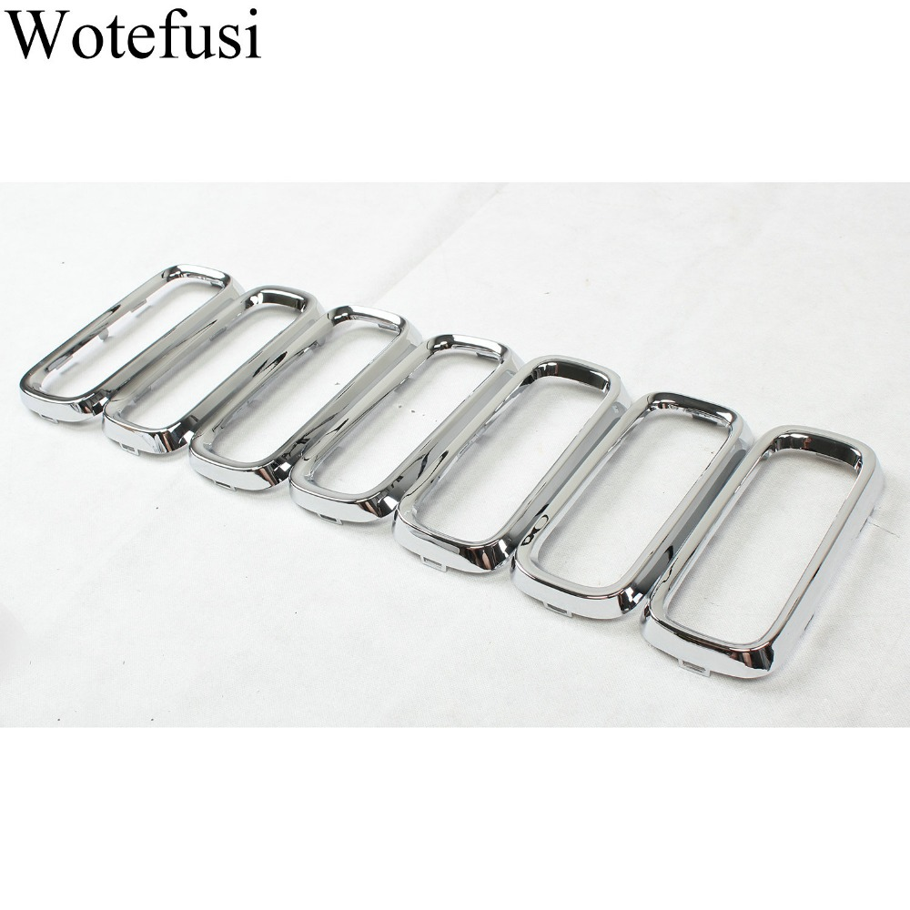 Wotefusi 7Pcs Chrome Front Grille Insert Grill Cover Trim For 2016 2017 2018 Jeep Renegade[QPA497]