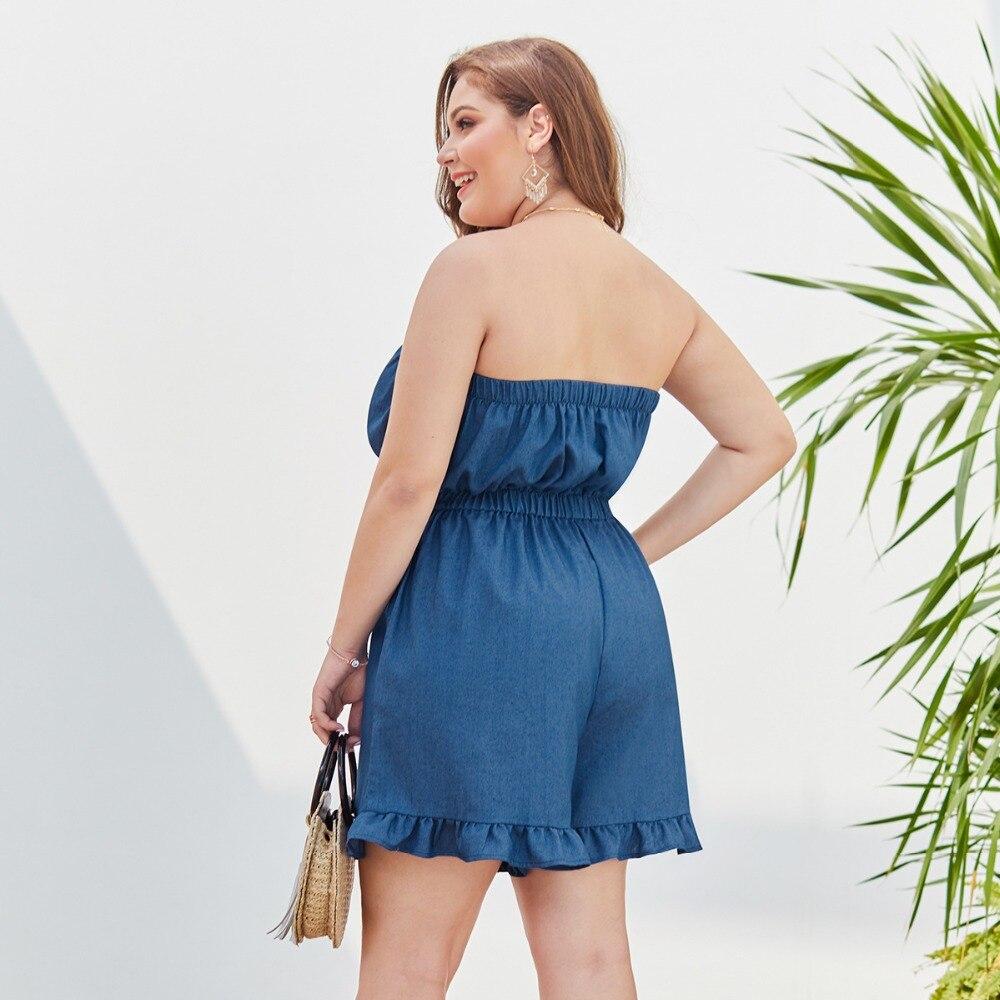 WHZHM Beach Denim Plus Size 3XL 4XL Bodysuit Female Rompers Playsuits Sleeveless Deep Off Shoulder Ruffles