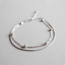 купить Real 925 Sterling Silver Bracelet Women 2019 Fashion Round Bead Bracelet Bangles Double Snake Chain Bracelet 925 Silver Jewelry дешево