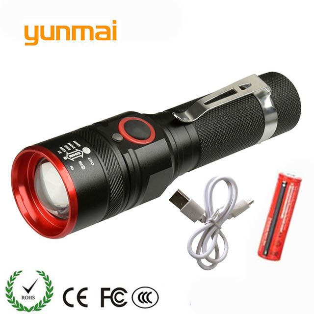 yunmai USB Rechargeable Flashlight T6 Led Flash light Zoomable 3 modes torch for 18650 with USB cable Camping fishing running