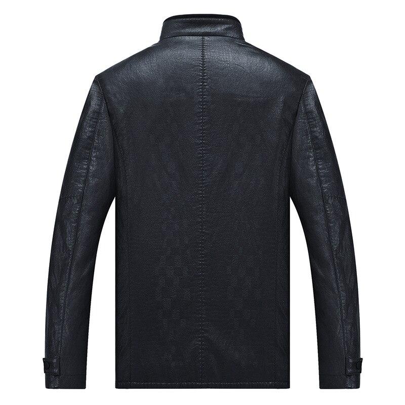 MSAISS 2017 новая весенняя Мужская короткая куртка для отдыха мужская кожаная куртка с воротником Большой размер Черная мужская кожаная куртка - 3