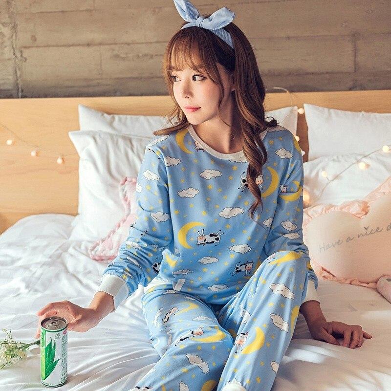 Womens Pajamas Sets Long sleeve suit Animal Cartoon Large Size Girls Sleepwear Women's Pijamas Suit Home Clothes Pyjama Femme