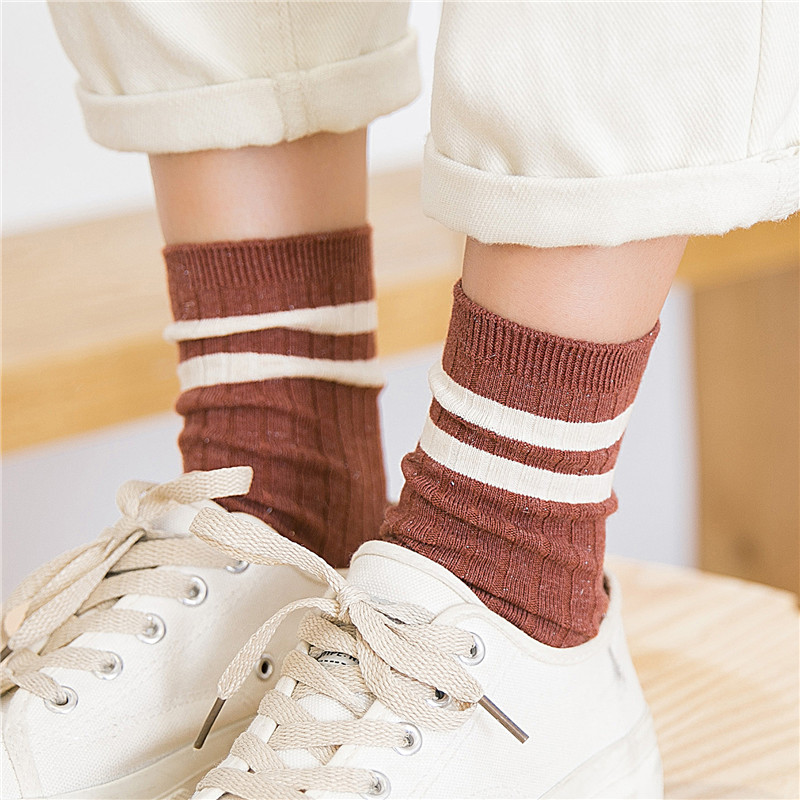 Japanese Socks Stripes Middle Tube Korean Edition Wind Heap Socks Autumn And Winter Women Chaussette Femme Hiver 3pairs