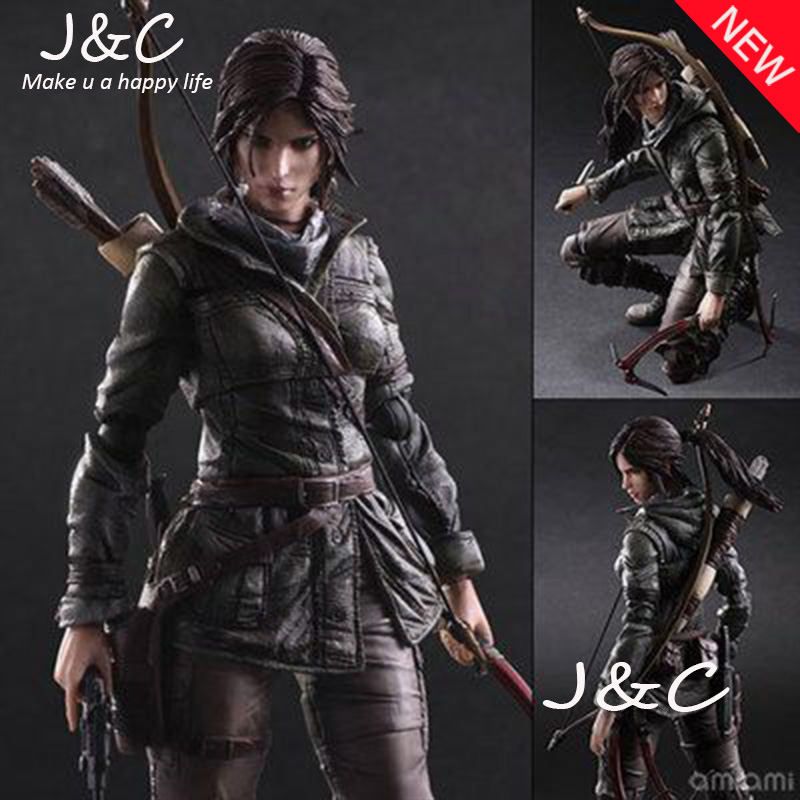 Free Shipping Play Arts Raider Kai Lara Croft 27cm PVC Action Figure Doll Toys Kids Gift game 26 cm rise of the tomb raider lara croft variant painted figure variant lara croft pvc action figure collectible model toy