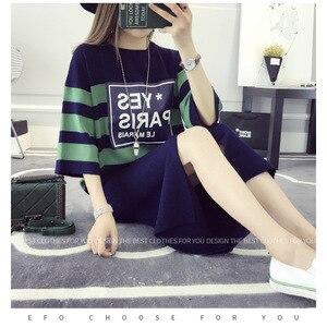 Image 3 - 春の新梨花ニットセットカジュアルストライプルーズセーター + ボディコンスリムスカートスーツ女性のためのカジュアル女性 2 個セット