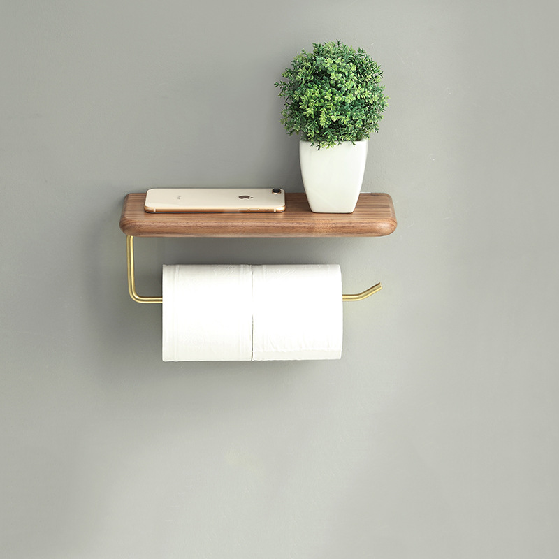 Creative black walnut roll holder Japanese solid wood paper towel holder Simple toilet paper holder storage toilet paper holder thai solid wood kitchen towel holder roll holder creative retro toilet paper towel holder roll holder lo5311141