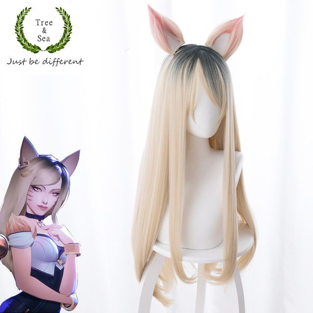 Game LOL wOMEN ROLE PLAY  KDA Team Ahri Cosplay Wig Blonde Wigs Costumes + Ears