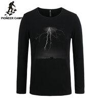 파이오니어 캠프 2017 티셔츠 남성 긴 소매 번개 인쇄 캐주얼 남성 티셔츠 슬림 탄성 3D 남성 긴 소매 T 셔츠