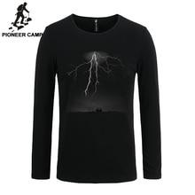 Пионерский лагерь 2017 футболка мужские Длинные рукава Lightning печати случайные хлопка мужской футболки Тонкий эластичный 3D Мужской Длинные рукава футболка