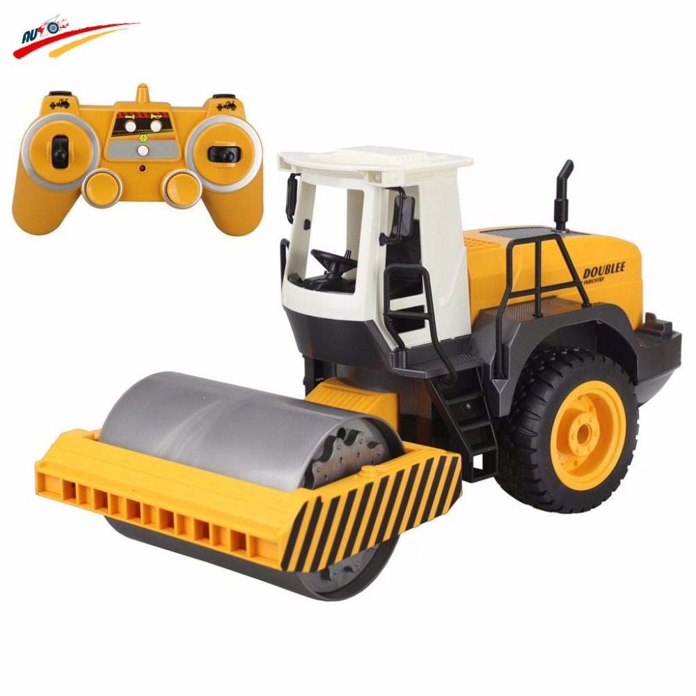 RC Truck 2.4G Remote Control Road Roller Drum <font><b>Vibrate</b></font> 2 Rubber Wheel Drive <font><b>Engineer</b></font> Electronic Truck Model Toy